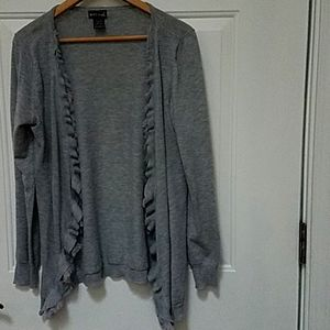 Wet Seal gray cotton rayon cardigan with fringe